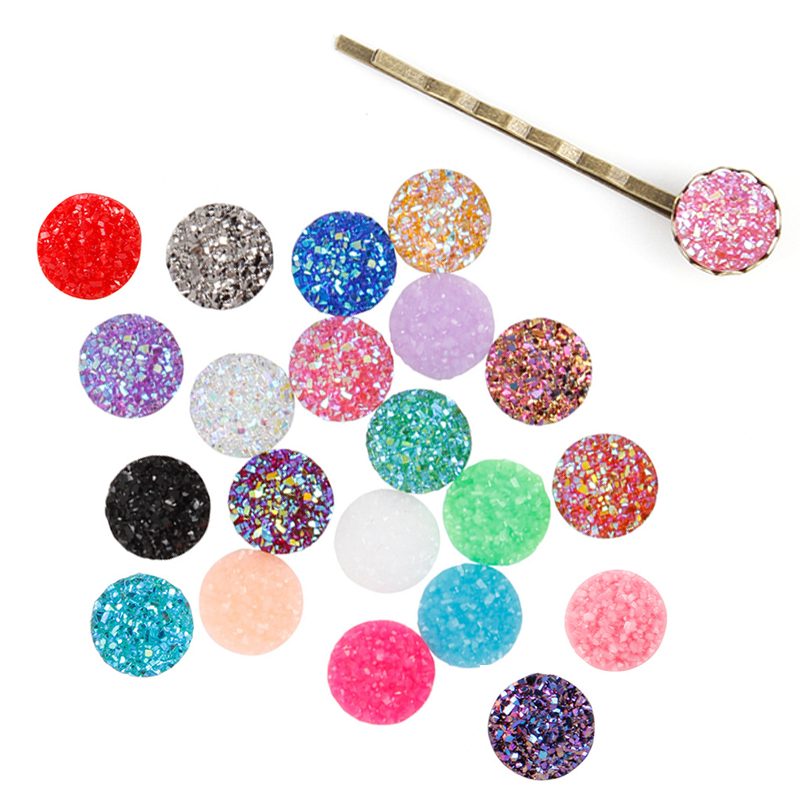 Hot Sale 12mm 20PCS/Pack Round Resin Cabochons Beads Convex Series Flat back DIY Materials Jewelry Accessories image