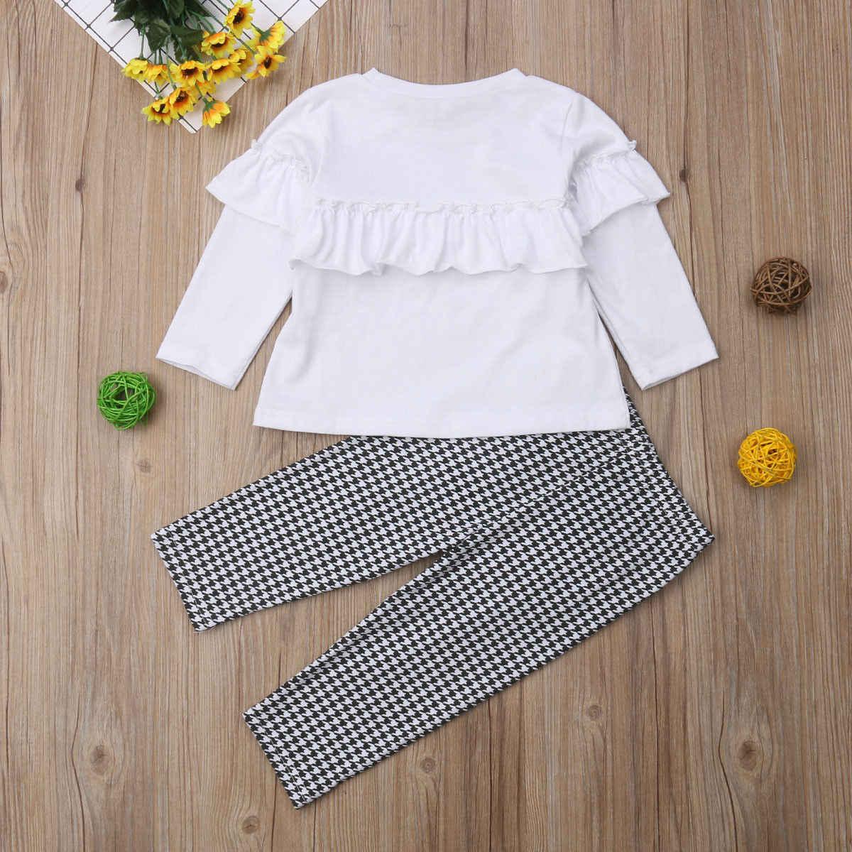 94506d1a39a4f ... Girls Clothes Set Autumn Flouncing Shirt Pants 2pcs Children Clothing  Set Fashion Kids Girl Outfits Plaid ...