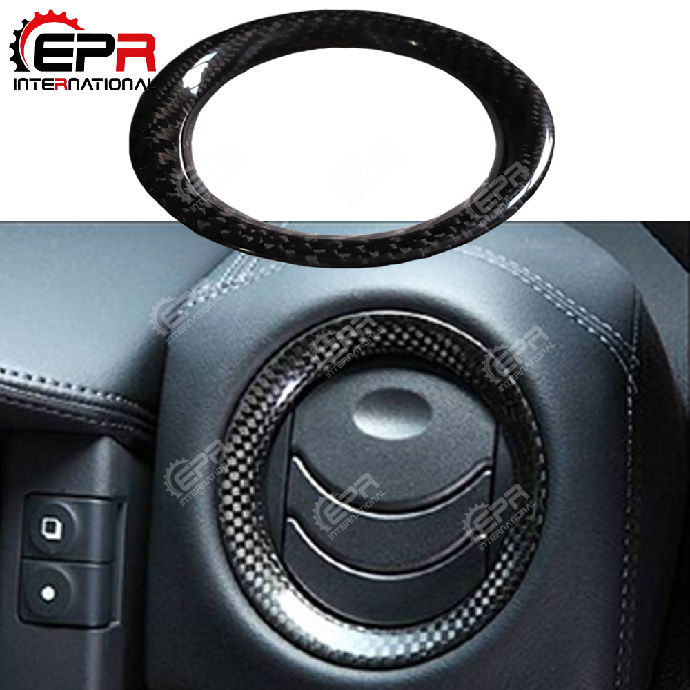 For Nissan R35 GTR Carbon Fiber Air Con Surround Vents Trim 4pcs Glossy Finish Air Duct Surround Kit GT R Tuning Intake Circle