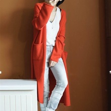 2018 Spring Autumn Long Cardigan Women Long Sleeve Solid Color Casual Pocket Knitted Sweater Loose Outerwear sweet solid color collarless long raglan sleeve cardigan for women