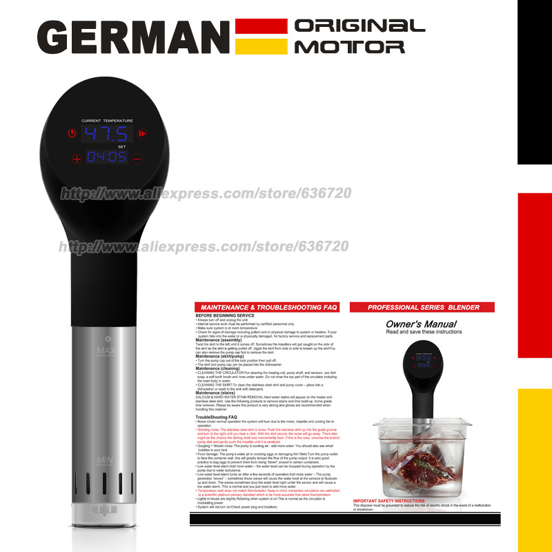 German original motor technology. 1400 Watts IPX7 Waterproof  vacuum cook Food cooking machine . sous vide cooker-in Slow Cookers from Home Appliances