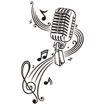 цены Microphone Music Note Wall Art Musical Notes Sticker For Ktv Bar Background Home Decorations