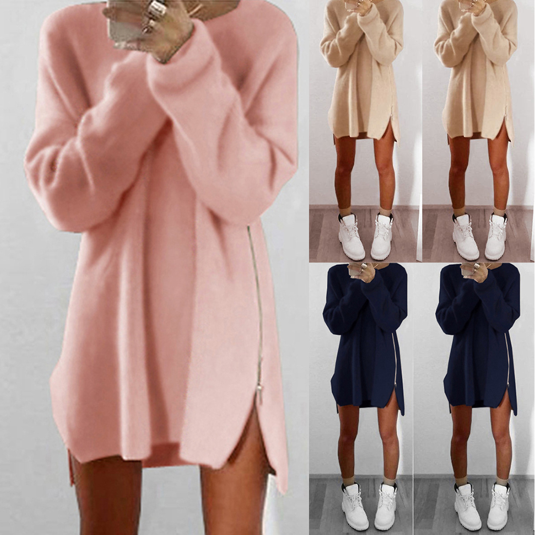 Loose O-neck Pullover Female Knitted Dress  Women Autumn Winter Dress  Solid Knitted Cotton Sweater Dresses Zip Vestidos Hot