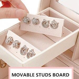 Image 4 - Design de moda caixa de jóias de couro caso de jóias pacote de armazenamento grande espaço jóias anel colar pulseira venda quente