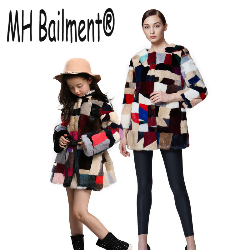 New Winter Real Mink Fur Style Pkaid Coat Family Matching Outfits Mother Daughter Outerwear Coat Mother & kids clothes