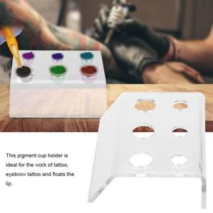 Image 2 - 6 Holes Tattoo Ink Cup Holder Pigment Container Stand Tattoo Acrylic Permanent Makeup Microblading Pigment Cup Cap Stand Holder