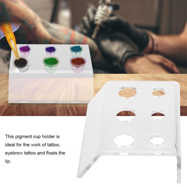 Soporte de 6 agujeros para tatuaje taza para tinta recipiente de pigmento soporte acrílico maquillaje permanente Microblading Pigment Cup Cap Holder