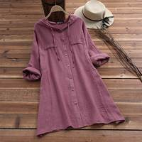 С капюшоном Drawstring Толстовка для женщин льняная блузка 2019 Весна повседневное длинным рукавом женский Кнопка подпушка рубашки для мальч