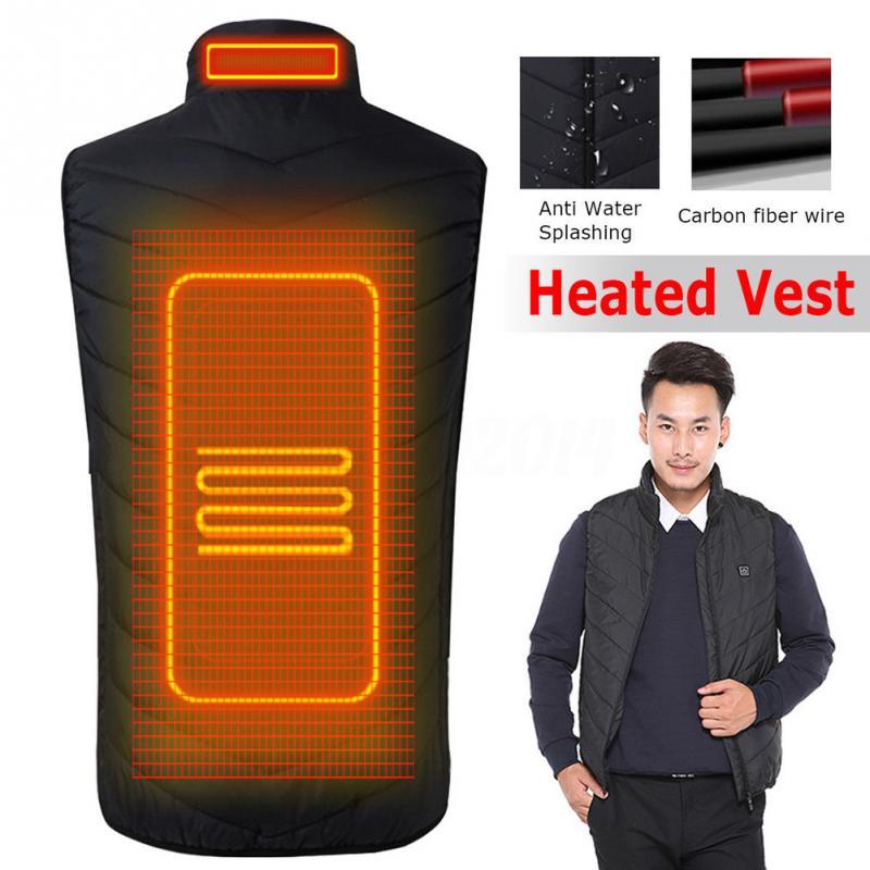 2018 actualizado al aire libre de los hombres de infrarrojos USB calefacción chaleco chaqueta de invierno eléctrica de fibra de carbono ropa térmica chaleco