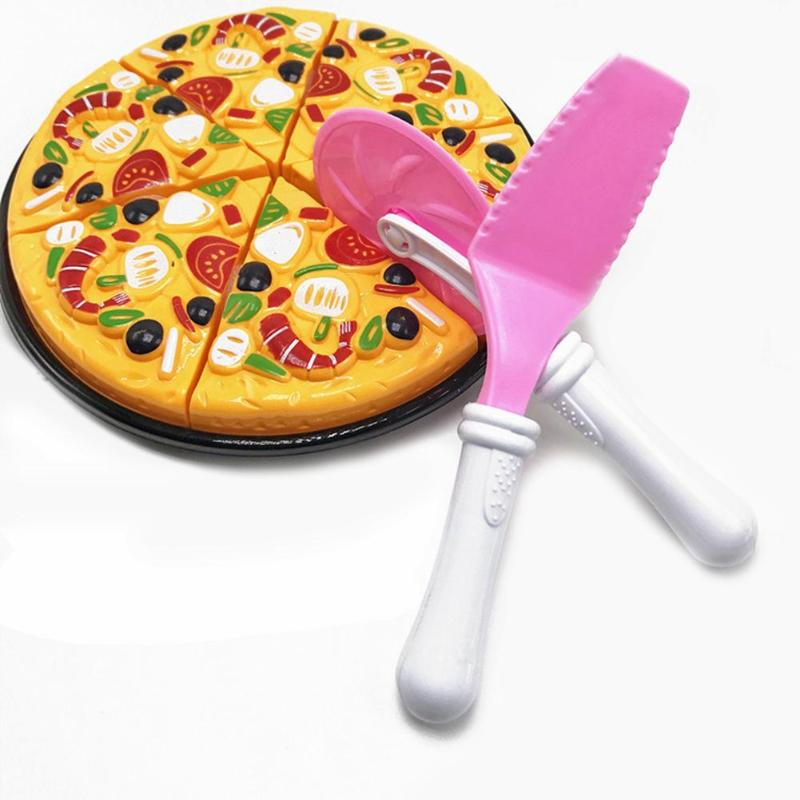 9pcs Children Kids Girl Toys Pizza Slice Toppings Play Food Fruits Dinner Kitchen Pretend Play Kindergarten Girls Toys Set