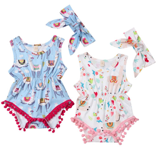 Newborn Baby Girls Summer Sleeveless Cotton Clothes Tassels Bodysuits Fashionable Cute Animal Printing Casual Outfits