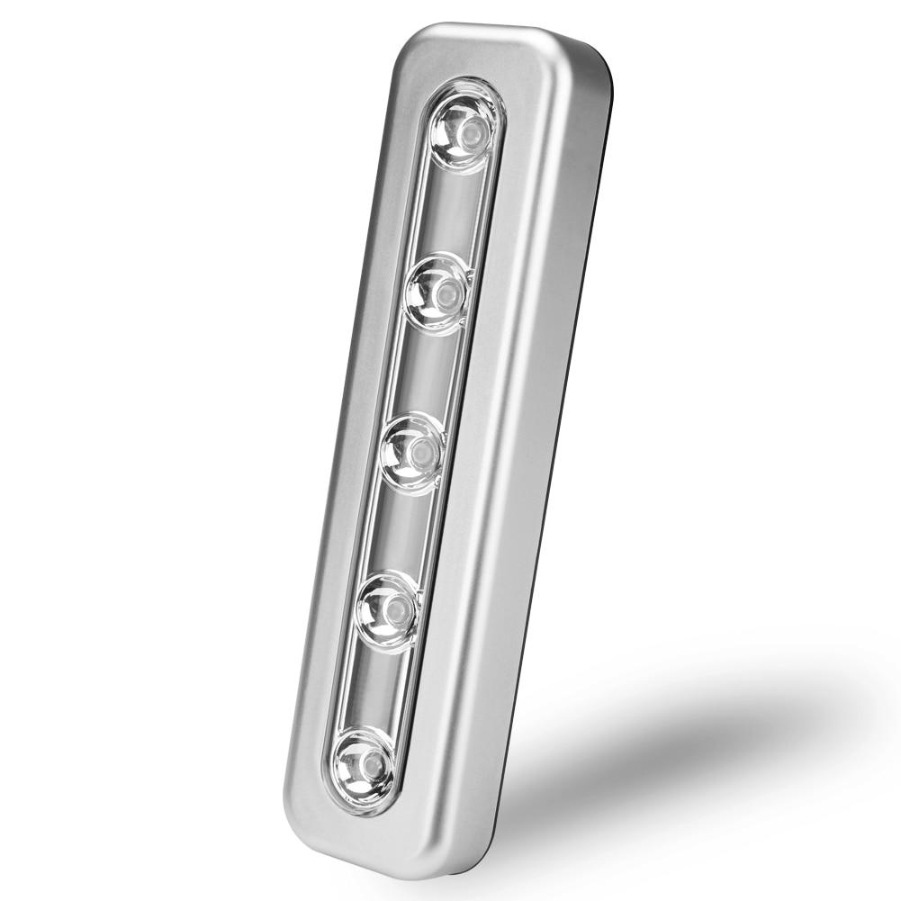 Luz Nocturna inalámbrica de 5 LED bajo armario de ropa ligero armario lámpara de cocina Push luz nocturna táctil Stick On batería
