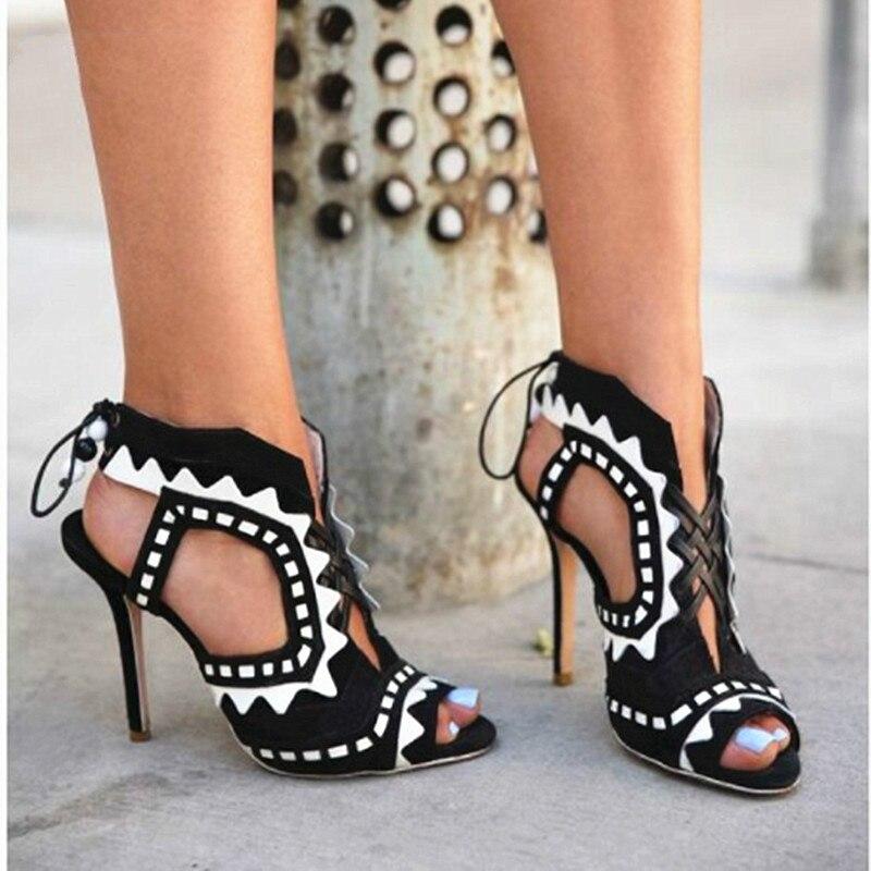 Contrast Colors Cutout Hollow Sexy Roman Sandals Women Beads Lace-Up Stilettos Fashion Ladies Shoes Peep Toe High Heels