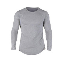 Men's Slim Fit O Neck Long Sleeve Muscle Hipster Casual Tops Blouse Hip Hop Basic Curved Hem Shirt Fall Plus Size 2XL(China)