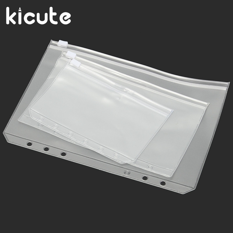 Kicute 1PC A5 A6 A7 PVC Zipper Pouch Standard 6 Holes Transparent Bags Card Bills Bags Loose Leaf Plastic Card Holder Pockets