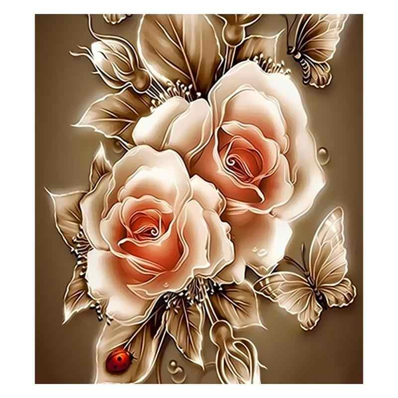Detail Feedback Questions About 3d Diy Gold Retro Rose Digital Oil