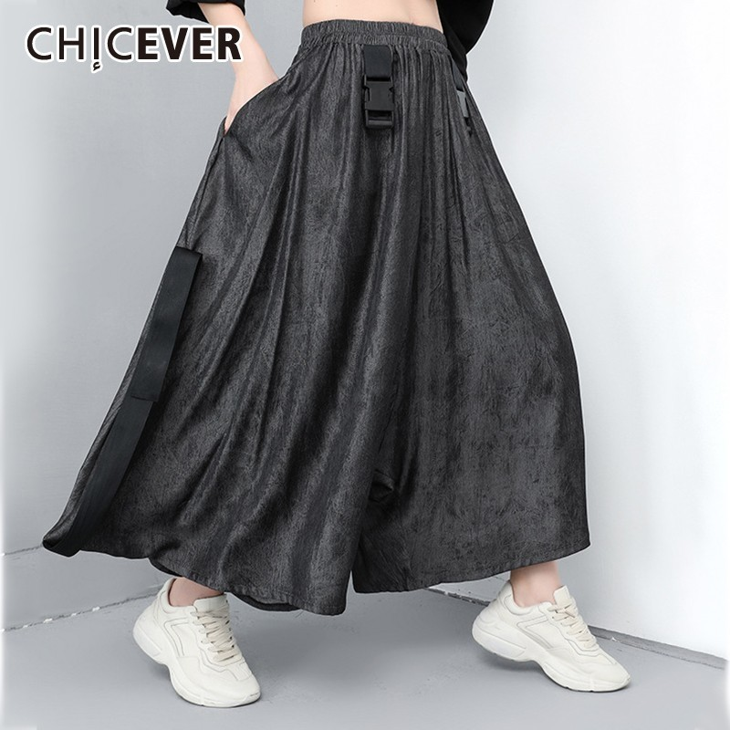 CHICEVER Spring Casual Women   Pant   Elastic Waist Pockets Loose Plus Size Ankle-length Female   Wide     Leg     Pants   2019 Fashion New