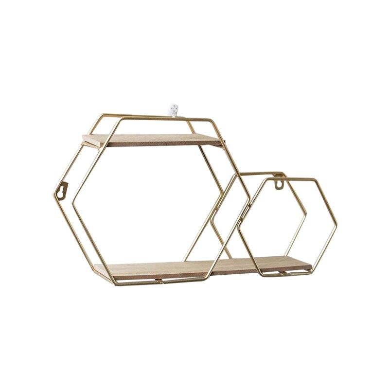 100% Waar Plank, Punch-gratis Dubbele Hexagon Muur Gemonteerde Plank Woonkamer Tv Muur Set-top Box Wanddecoratie Gemonteerde Boekenplank