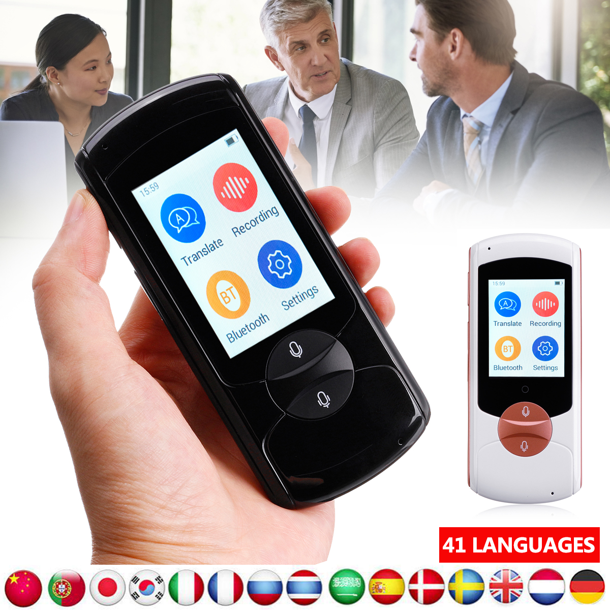 Portable Smart Voice Instant Translator Touching Screen 41 Languages Real Time traductor For Learning Travelling Business