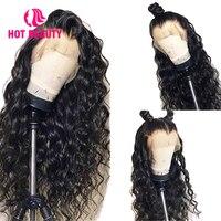 Горячие Красота волос 360 кружева фронтальной парик дышащая волна воды парик предварительно срывать с ребенком волос бразильского Реми 100% ч