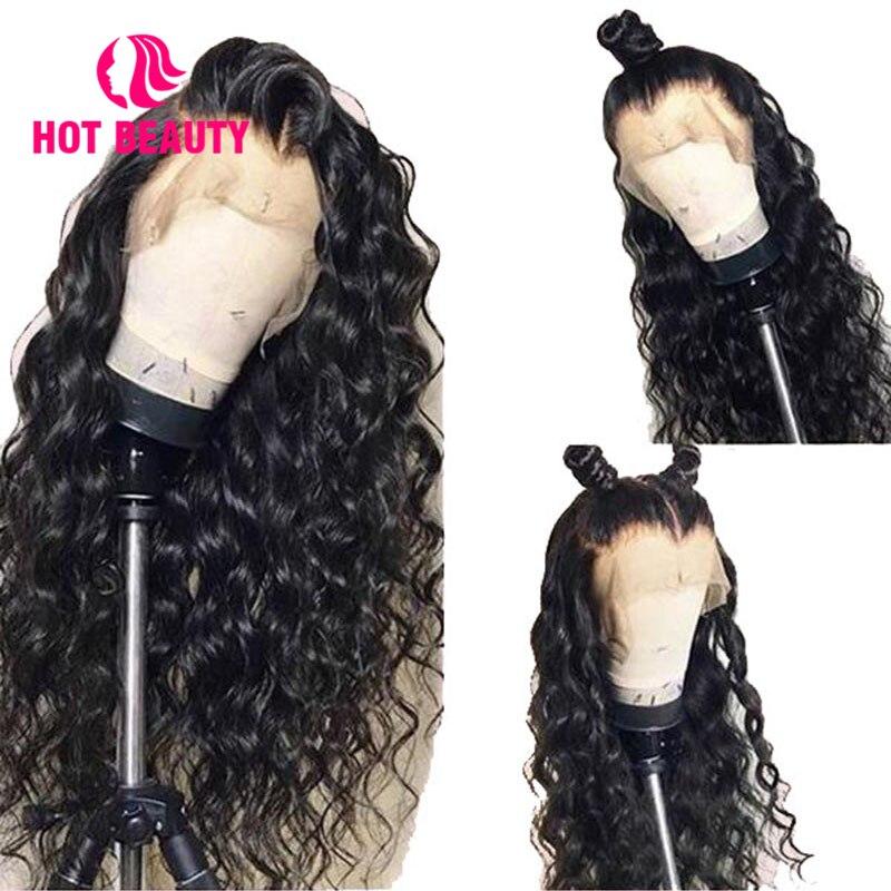 Chaud beauté cheveux 360 dentelle frontale perruque respirant eau vague perruque pré plumé avec bébé cheveux brésilien Remy 100% cheveux humains dentelle perruques