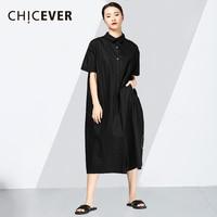 CHICEVER Character Print Women's Dresses Lapel Collar Short Sleeve Fashion Summer Dress Shirt Women Loose Casual Clothes Fashion