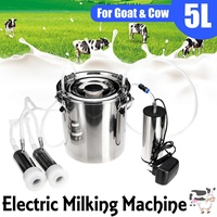5L Upgraded Version Double Head Electric Cow Goat Sheep Milking Machine Vacuum Pump Stainless Steel Bucket 220V Milking Machines