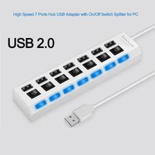 USB 2.0 Hub 480 Mbps High Speed 7 Port USB Hub With Power On/off Switch Multiple Converter Adapter For PC Laptop Phone Charger цена и фото