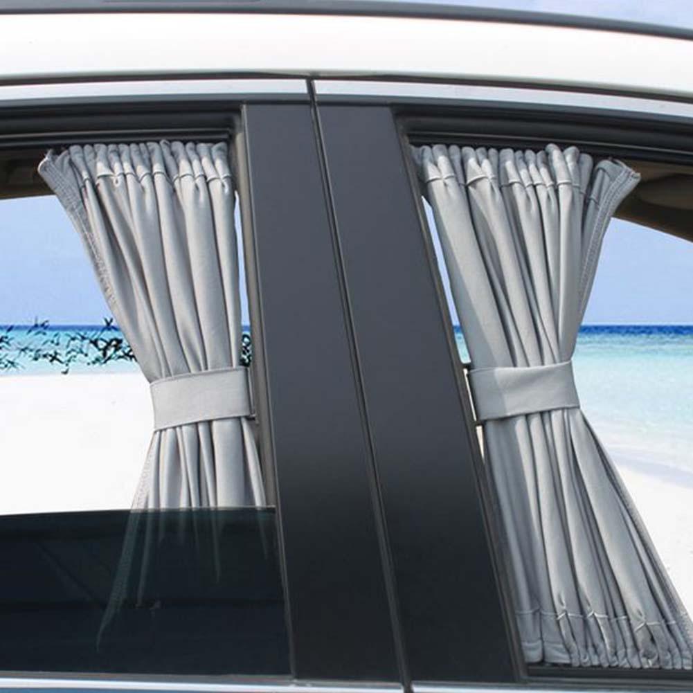 2pcs 70cm Black Mesh Style Valances Anti-UV Sunshade Visor Autos Window Curtain