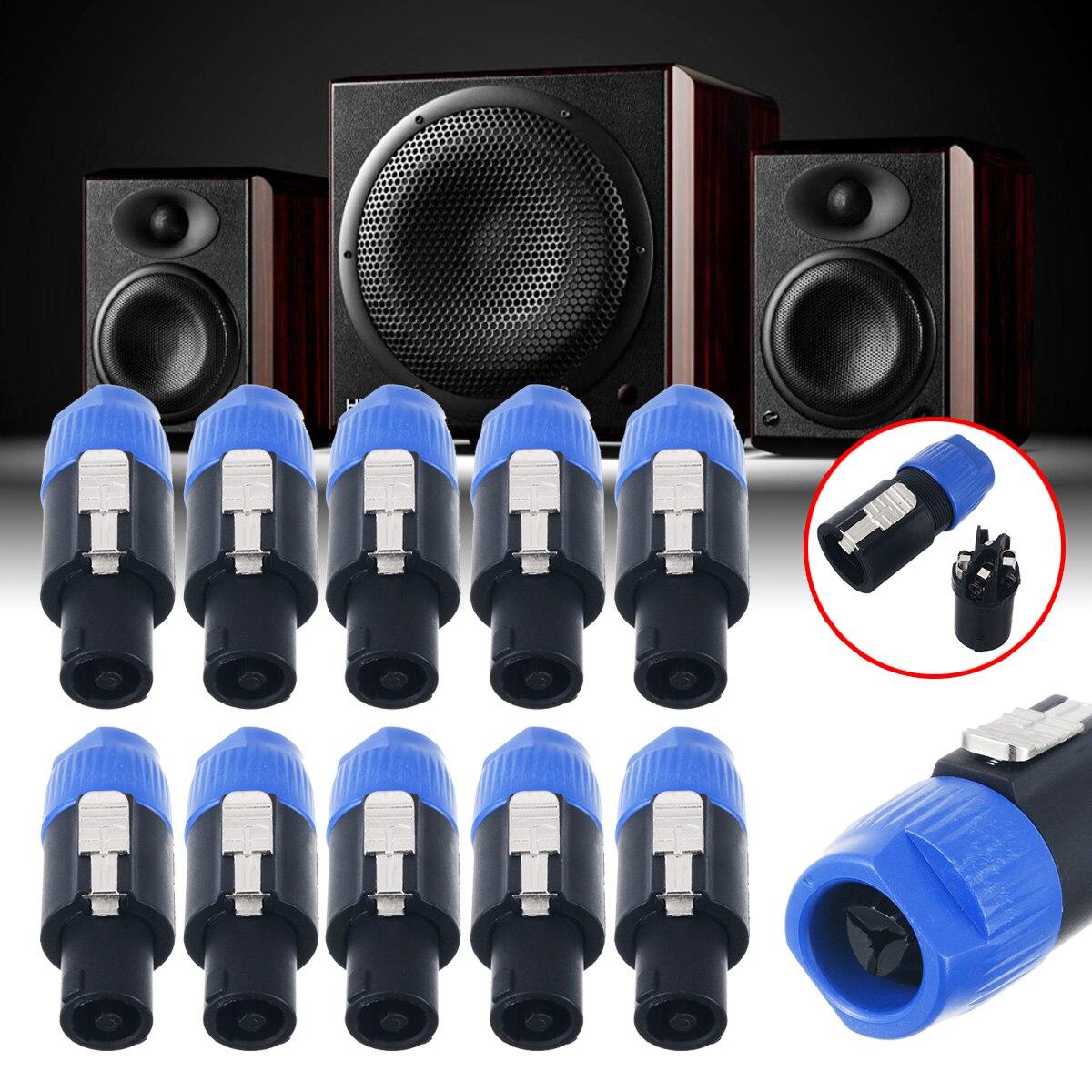 10pcs Professional Copper Core Speakon Connector Chuck Type 2 Pin Male Plug Compatible Audio Wire Cable Connectors
