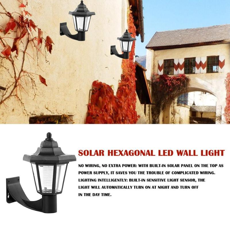Vintage Solar LED Wall Lamp Waterproof Outdoor Garden Landscape Hexagonal Light Villa Park Courtyard Led Spotlight Light in Solar Lamps from Lights Lighting