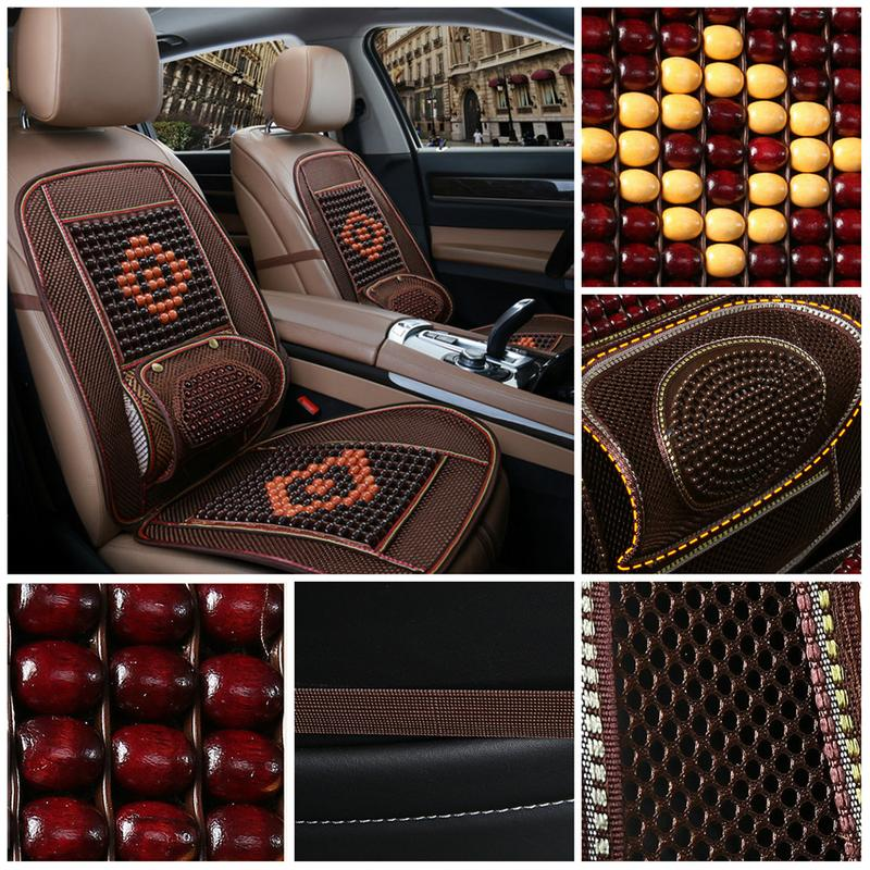 Brown Wooden Beaded Massage Breathable Seat Cushion Cover Car Van Taxi Office