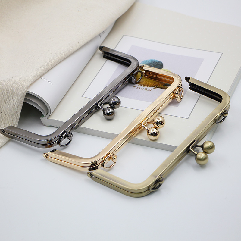 2PCS 20.5cm Rectangle Bag Purse Frame Screw DIY Part High Quality Bag Hardware Metal Ball Clasp Gold Brass Bag Hook Hanger
