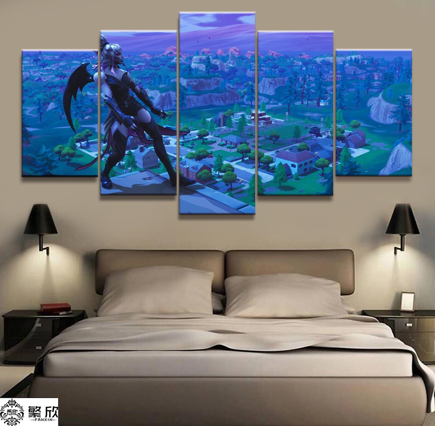 5 piece fortnight battle royale map video game poster fort - Living room home decor fort langley ...