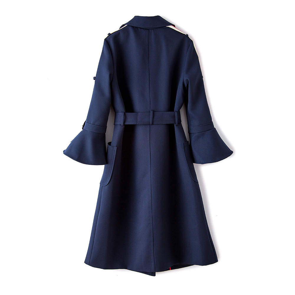 Femmes Côté Manches Longue W1715459 2019 Trench Pour Poignets Nouveau Blue S Gland coat l Corne Supérieure Automne Style Qualité Bande Angleterre Bleu qazYWf