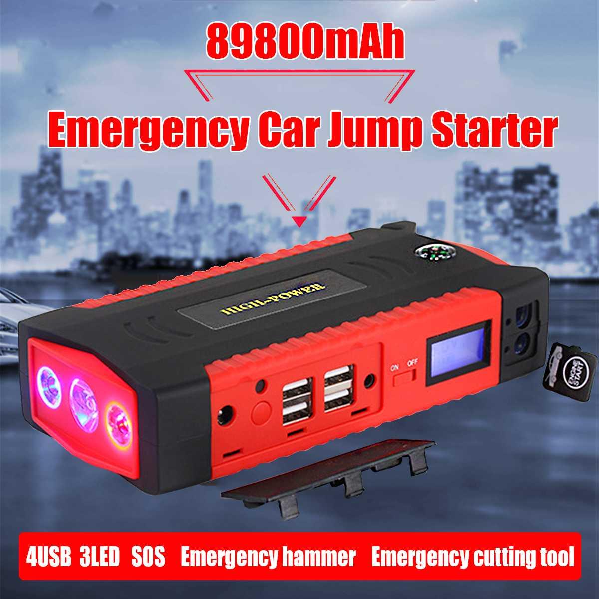 89800 mAh voiture saut démarreur Portable batterie externe 4 USB batterie Booster chargeur 12 V dispositif de démarrage essence Diesels voiture démarreur SOS