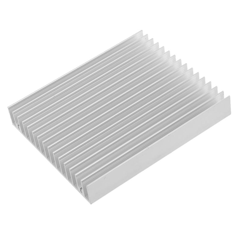 Silver Tone Aluminium Heat Diffuse Heat Sink Cooling Fin 120x100x18mm