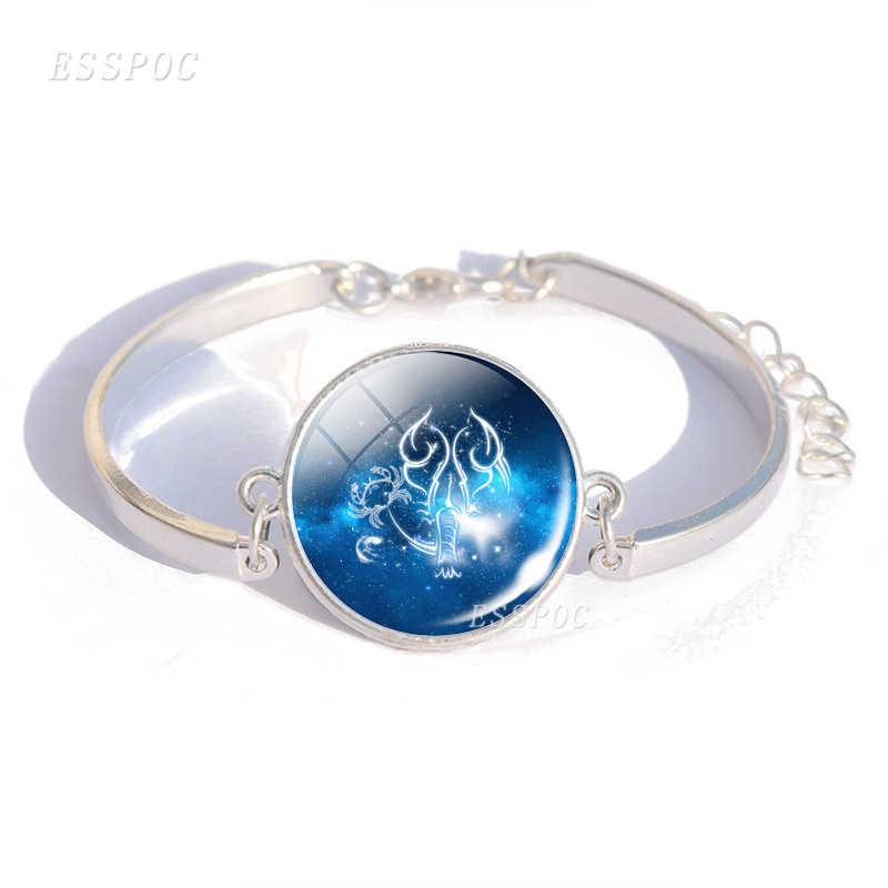 Zodiac Sign Charm แก้ว Cabochon สร้อยข้อมือกำไลข้อมือราศีกันย์ราศีตุลย์ราศีพิจิก 12 Constellation เครื่องประดับวันเกิดของขวัญ