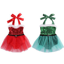Christmas Baby Girl Clothing Cute Sleevelss Sequined Rompers Fashion Xmas Kids Baby Girl Sleeveless Lace Tutu Romper Jumpsuit(China)