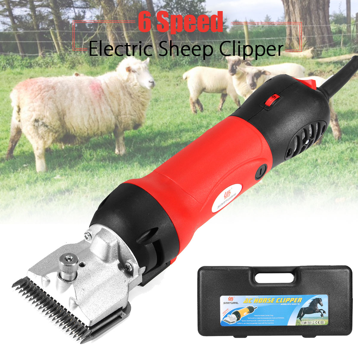 320W Electric Sheep Horse Clipper Equine Animals Shearing Machine Trimmer Shaver Clipper Hair Grooming 4 Plug
