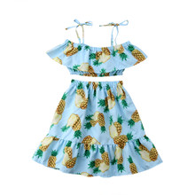 9d46b2f9a6de Toddler Kids Baby Girls Outfits 2Pcs Pineapple Printed Clothes Set Off  Shoulder Bare Crop Tops Long Skirt Baby Girl 1-6T