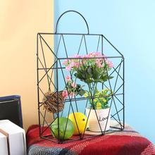 Металлическая корзина в скандинавском стиле для хранения настольных книг, подвесной стеллаж, органайзер для дома, детской спальни, Настенный декор, органайзер для хранения на кухне