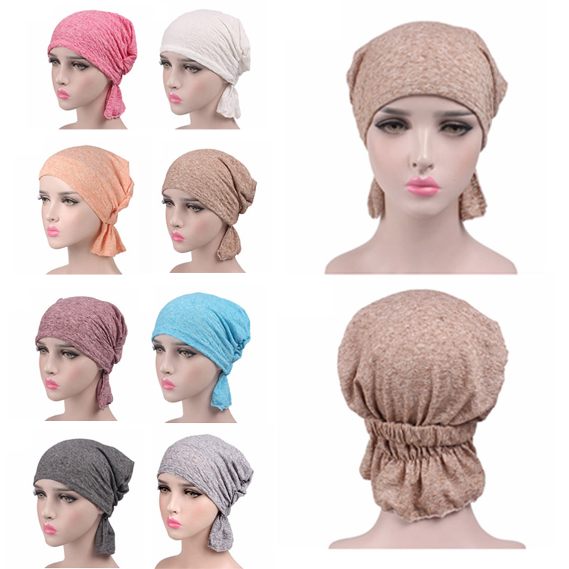 Women Hat New Hot Fashion Soft Kerchief Chemo Cap Turban Headband Head Wrap 8 Colors Adjustable 1Pair Cotton Hair Accessories