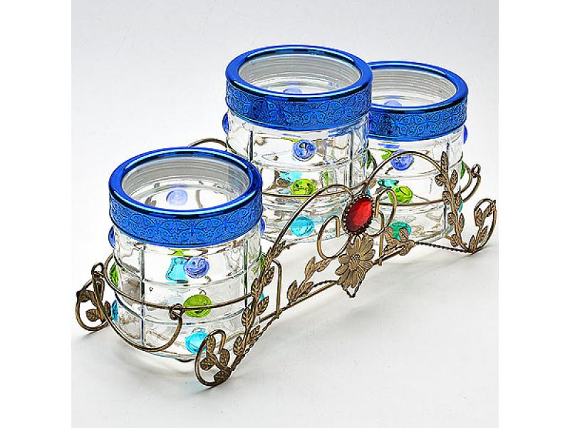 Set jars bulk MAYER & BOCH, sky blue bottles jars