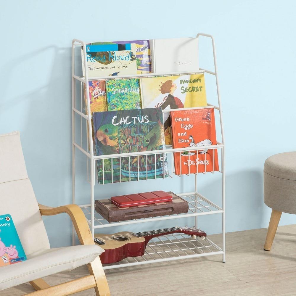 SoBuy KMB06-W, Children Kids Bookcase Storage Display Shelving Unit Metal Organization Rack