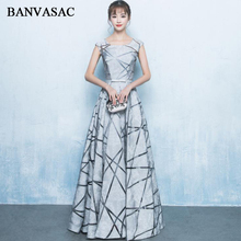 BANVASAC Elegant O Neck Stripes Pattern A Line Long Evening Dresses Party Short Cap Sleeve Bow Sash Prom Gowns