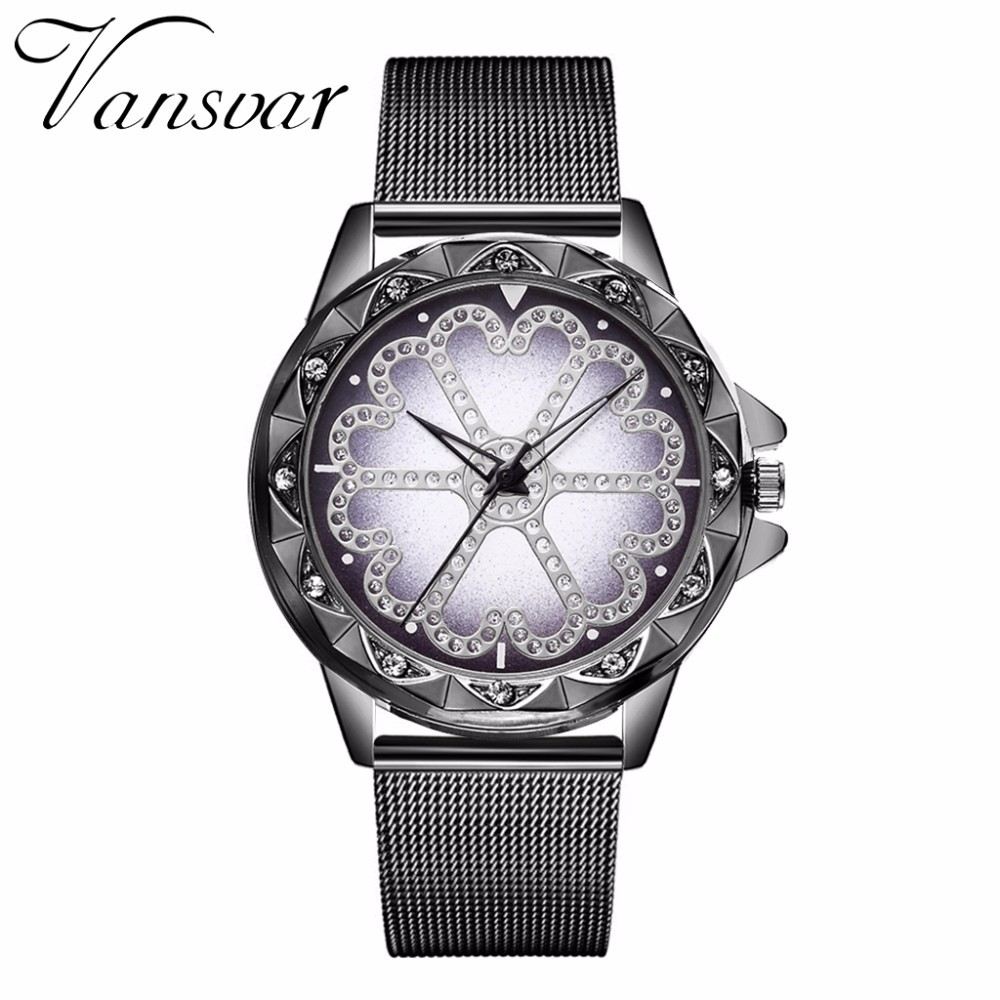 Hot Fashion Women Flower Rhinestone Wrist Watch Luxury Casual Rose Gold Steel Quartz Watch Relogio Feminino Drop Shipping  5