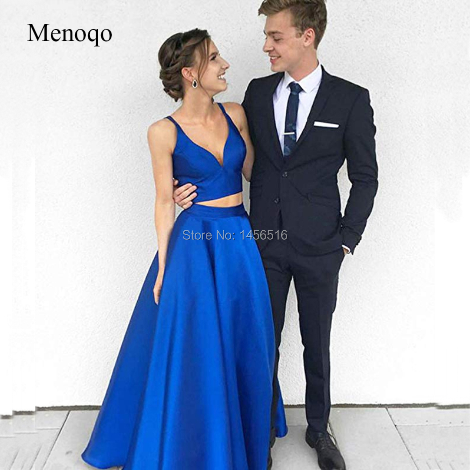 Women's V Neck Two Pieces Satin   Prom     Dress   2019 with Pocket Long Formal Party   Dresses   Royal blue