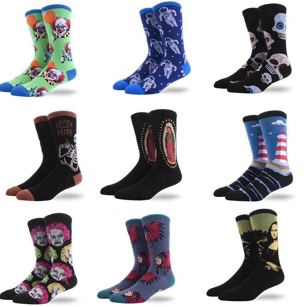 Oil Painting Happy Compression Socks Men Personality Restore Ancient Ways Figure Socks Man Socks Tide Socks Harajuku Hip Hop