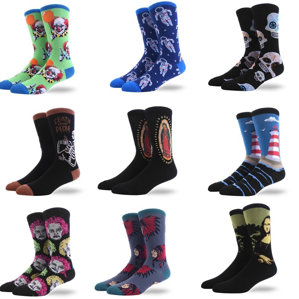 Oil Painting Happy Compression   Socks   Men Personality Restore Ancient Ways Figure   Socks   Man   Socks   Tide   Socks   Harajuku Hip Hop